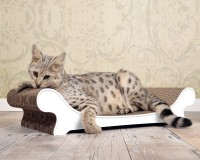 Preview: White cat sofa with scratching surface made of robust corrugated cardboard