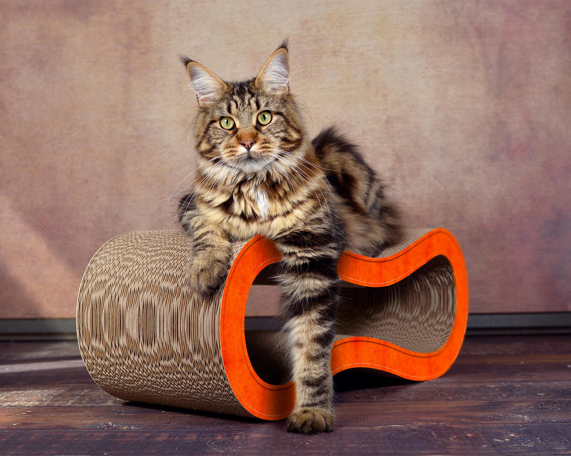orange cat scratcher Singha M handmade in Germany