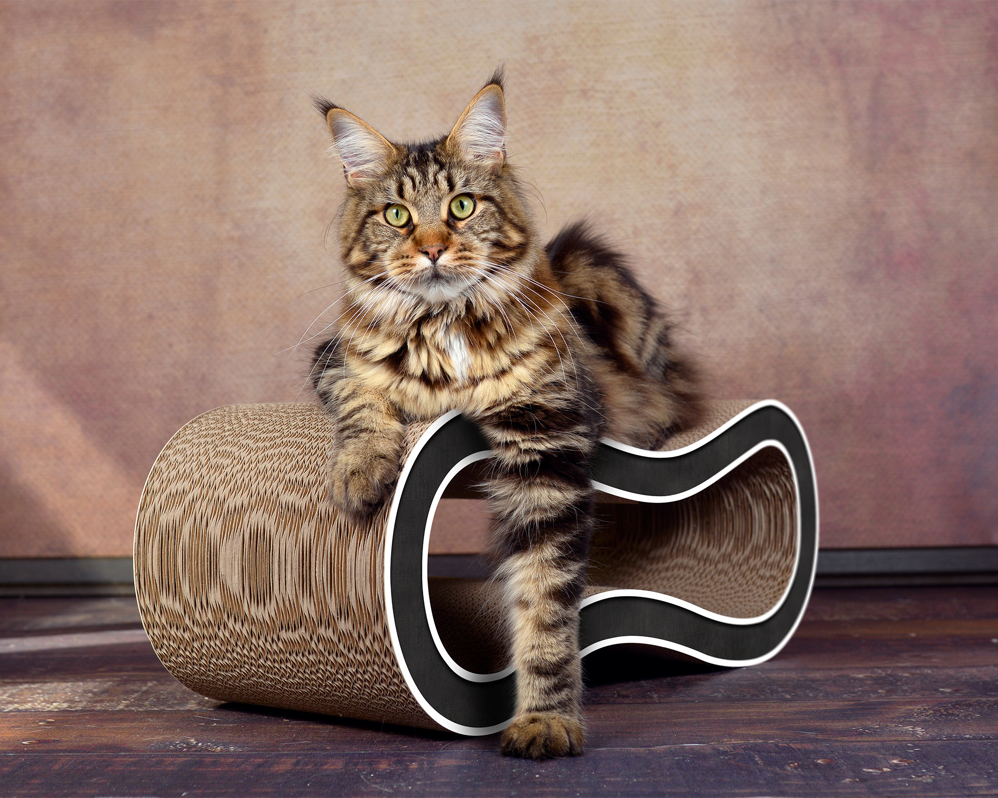 Design cat scratch post Singha M in black with white borders