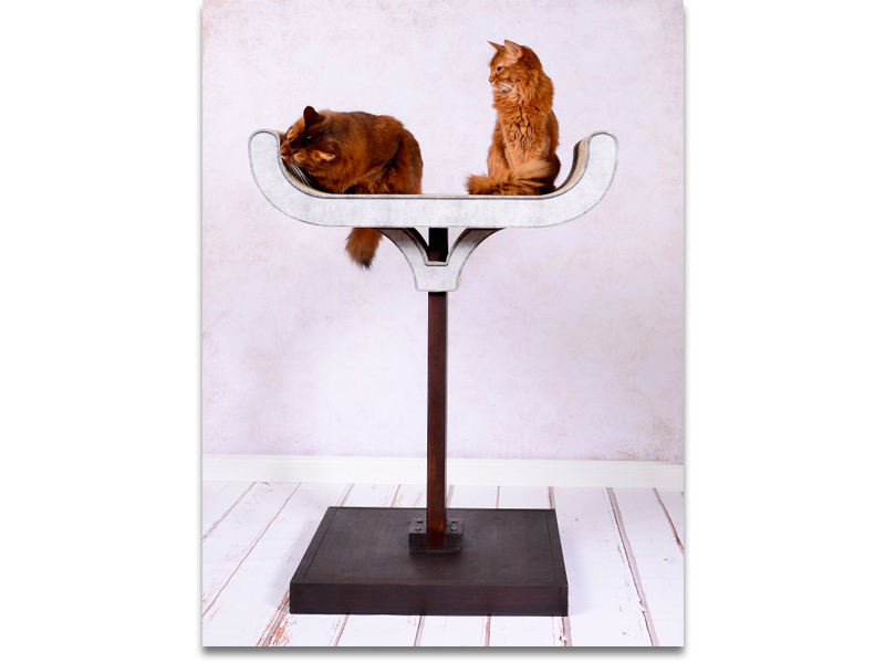 cat-on cat tree Corbeille | cat tree combined in woood and cardboard