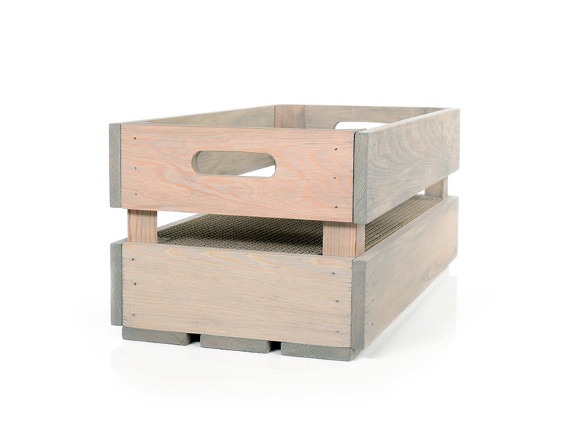 cat-on Kratzbox aus Holz | Katzenstiege S in Steingrau