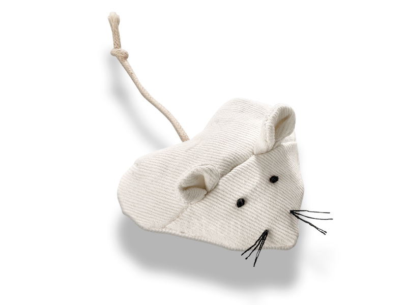 white toy mouse for cats in heart shape