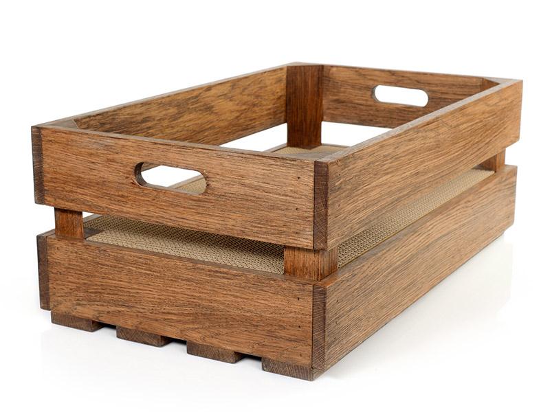 Scratching box made of FSC-certified oak & corrugated cardboard